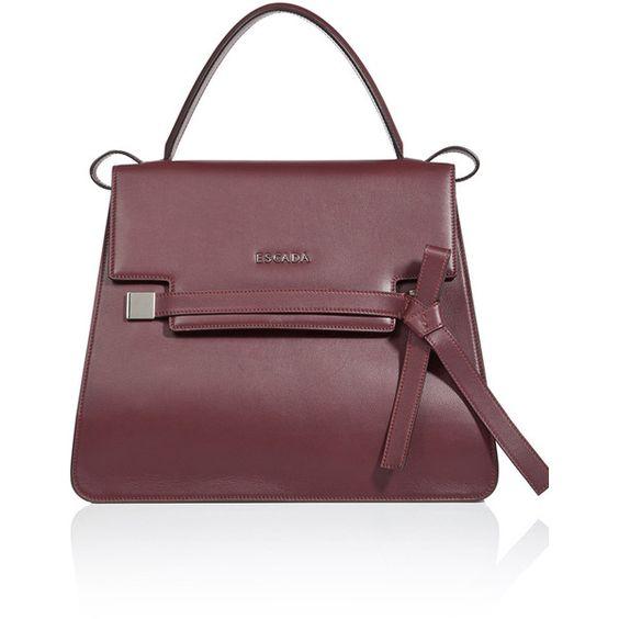 ESCADA Handbag ML40 ($1,695) ❤ liked on Polyvore featuring bags, handbags, port, leather key ring, brown handbags, bow handbag, bow purse and leather zipper pouch