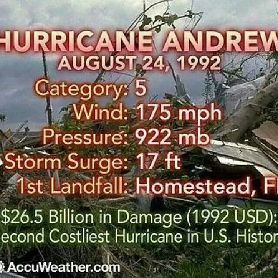 On the morning of August 24, 1992, Hurricane Andrew made landfall in South Florida. It has been listed as one of the strongest hurricanes to ever hit the United States, and the third category 5 hurricane to make land fall in the United States.