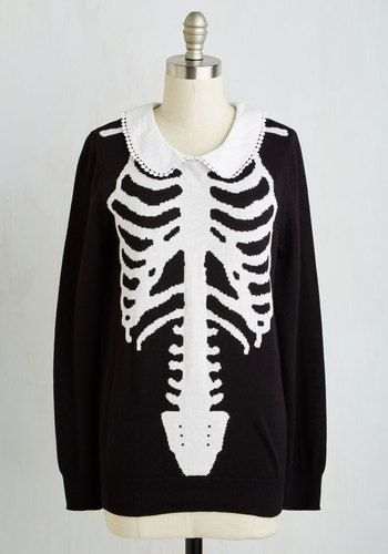 X-Ray Visionary Top. With a penchant for imaginative fashion choices, you faithfully sport this skeletal sweater with gusto! #gold #prom #modcloth:
