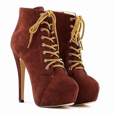 (22,19€) Para-Mujer-De-Imitacion-De-Terciopelo-Tacones-Altos-Con-Encaje-Plataforma-Stiletto-Botines-Zapatos