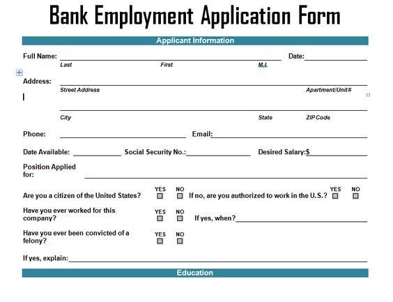 Bank Employment Application Form Template u2013 Project Management - employment application form