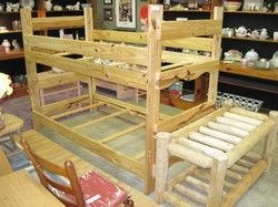 What kid wouldn't love a rustic log bunk bed! These can be set down as twin beds too!