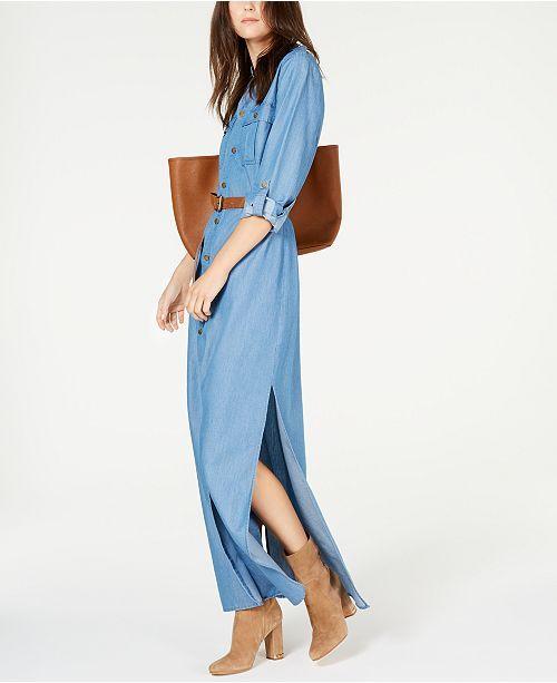 Michael Kors Denim Maxi Shirtdress | Fashion, Review dresses ...