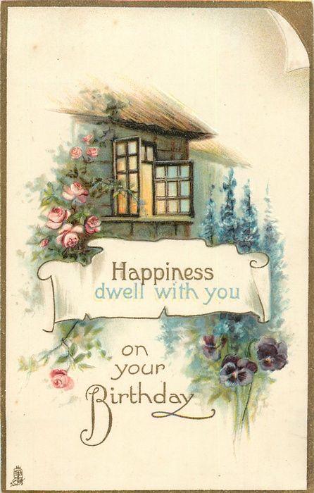 Cottage garden, open window.  Birthday message, 1925.