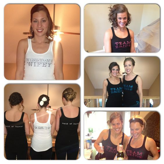 Personalized tanks for the bride and bridal party to wear morning of the wedding! #thegluegirl www.thegluegirl.com @Teresa M. Crudele