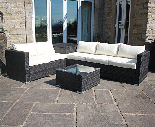 Rattan Outdoor Garden Furniture Corner Sofa with Storage Box in Brown. 1373 best Rattan Sofas images on Pinterest   Outdoor patios