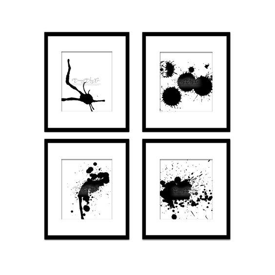 Paint Splatter Set 12, Black And White Art, Digital Black And White Art Prints, Abstract Art, Contemporary Art, Printable Art, Home Decor