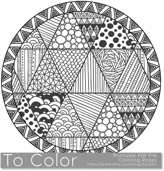 Coloring Pages For Grown Ups Pdf : Round patterned coloring page for grown ups this is a