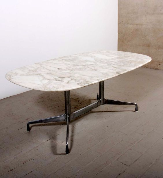 Charles And Ray Eames Cast Aluminum And Marble Aluminum Group - Eames marble table