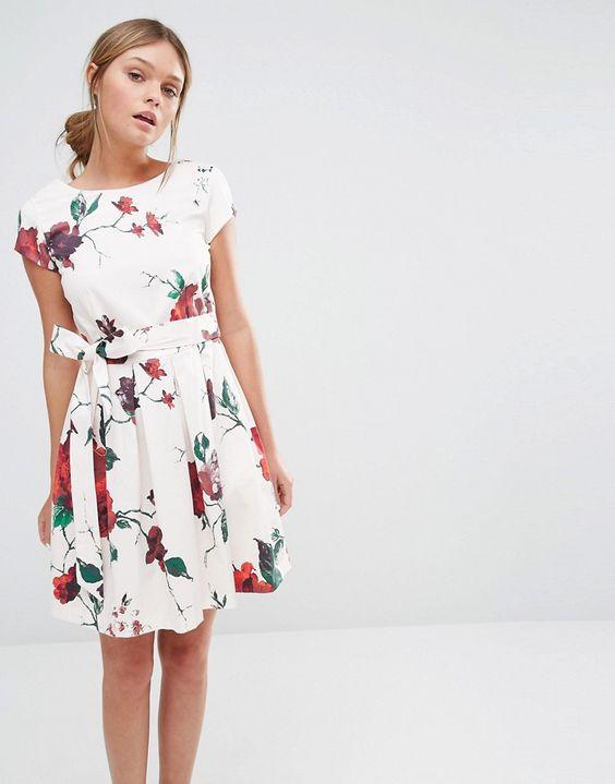 Closet+Floral+Print+Waist+Tie+Pleat+Dress+with+Cap+Sleeve