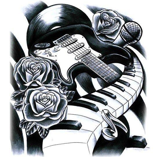 Guitar Piano And Microphone Tattoo Design Music Tattoo Sleeves Music Tattoos Music Tattoo Designs