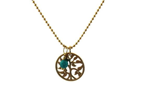 Geboortesteen ketting Tree of Life december turquoise - InTu