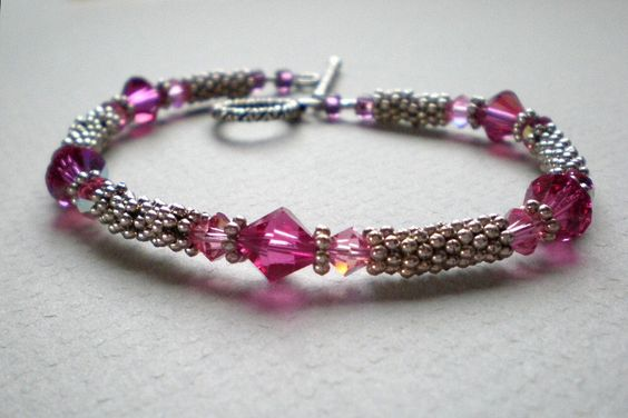 Rose pink bracelet Swarovski crystals in light pink and rose antique silver beaded bracelet 8/12 bracelet  toggle clasp wire strung handmade by IvoryCatCreations on Etsy https://www.etsy.com/listing/120621947/rose-pink-bracelet-swarovski-crystals-in