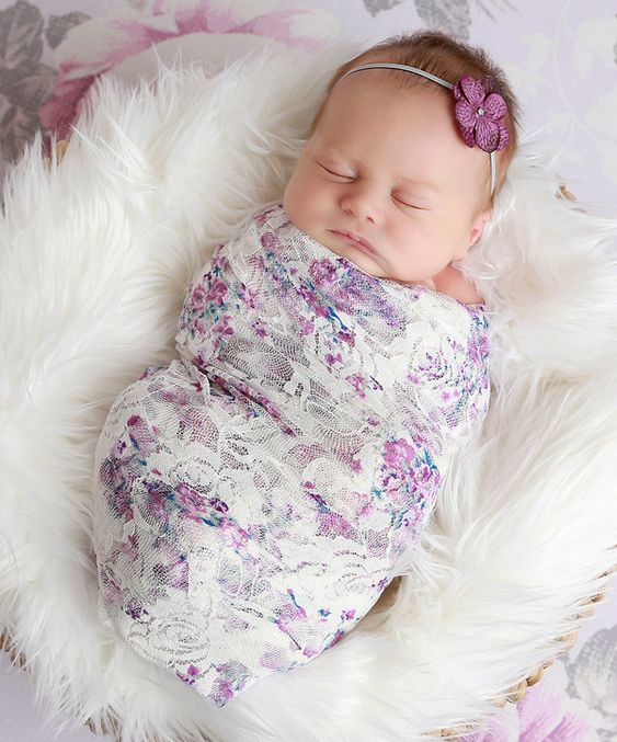 Look at this Lil Miss Sweet Pea Lavender Floral Lace Wrap & Hydrangea Headband on #zulily today!: