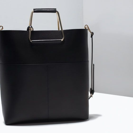 image 4 of shopper bag with metal handle from zara
