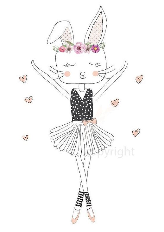 Dancing Ballerina Bunny kids decor wall by StylaPrintsAndDesign