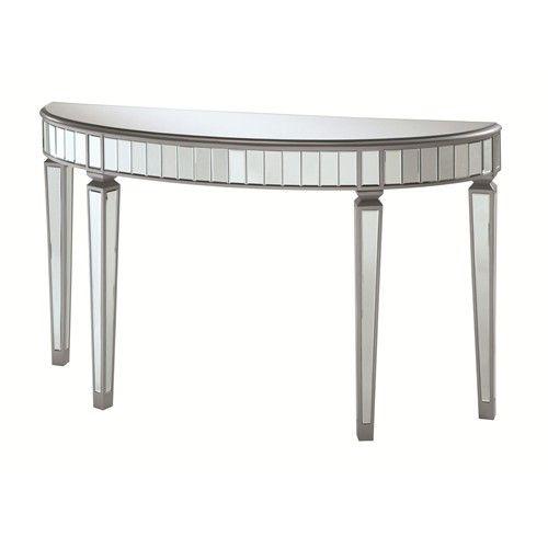 Coaster Accent Cabinets Half Oval Mirrored Console Table - Coaster Fine Furniture