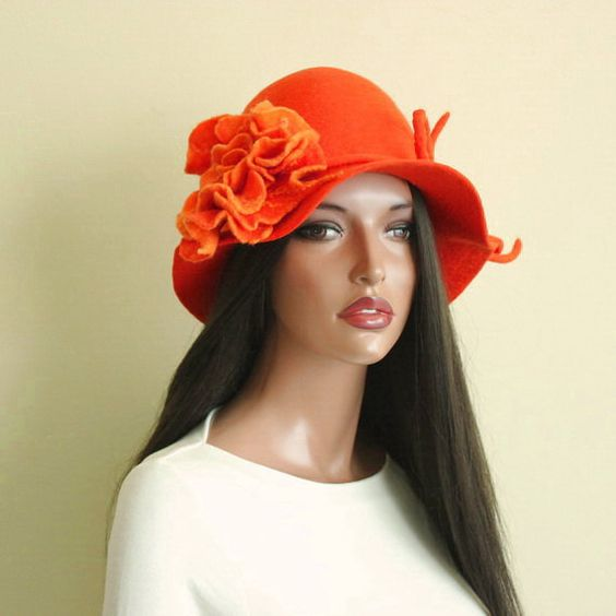 Orange hat Orange cloche Felted hat felt hat by ZiemskaArt
