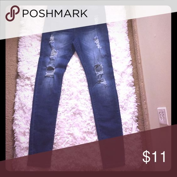 High waisted distressed jeans size 15