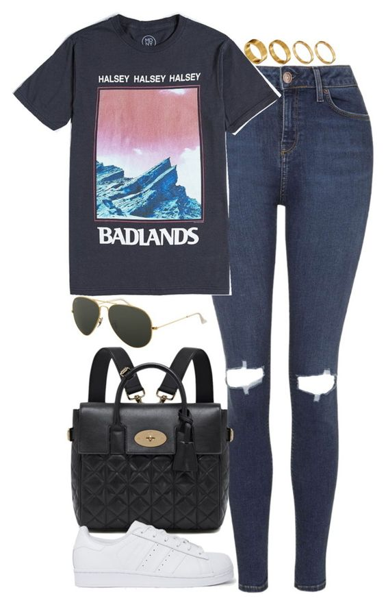 """""""Untitled #4868"""" by eleanorsclosettt ❤ liked on Polyvore featuring Topshop, Mulberry, adidas Originals, Ray-Ban and Made"""