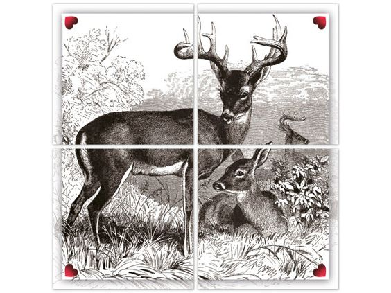 Tile Decals set of 4 BAMBI POSTER by BOUBOUKIshop on Etsy