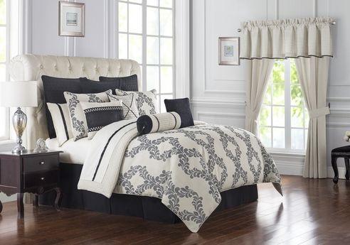 7 Piece Queen Gracie Ivory And Black Comforter Set Black