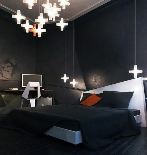 Appartement noir mystérieux anguleux