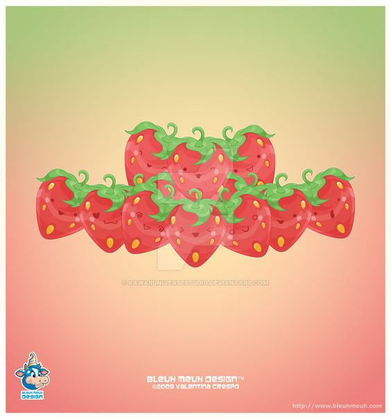 Kawaii Strawberries by KawaiiUniverseStudio.deviantart.com on @DeviantArt