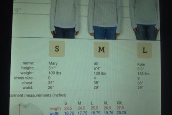 Sizing chart for jerseys