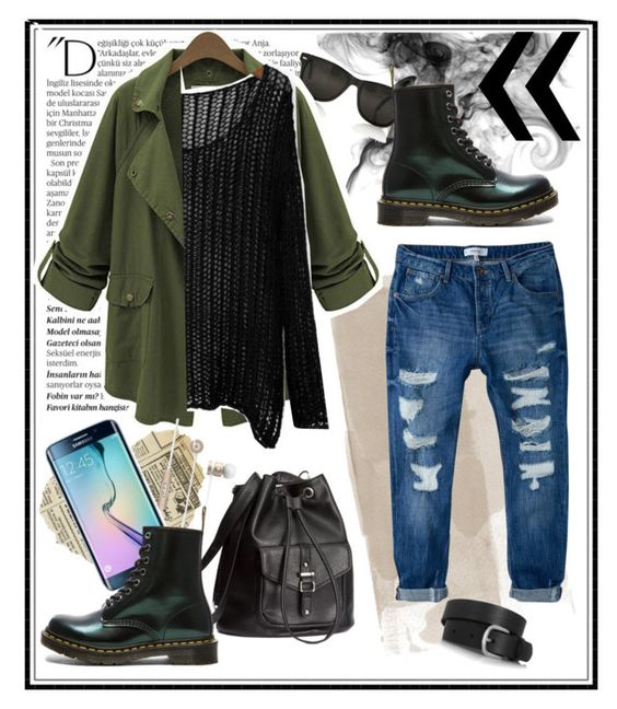 """~_~"" by aumnea ❤ liked on Polyvore featuring Balmain, MANGO, H&M, Samsung, Dr. Martens and Isabel Marant"