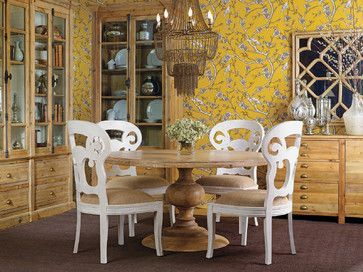 Magnolia Dining Table - Antique Atelier - eclectic - dining -- wood grain table with painted chairs hmmmm
