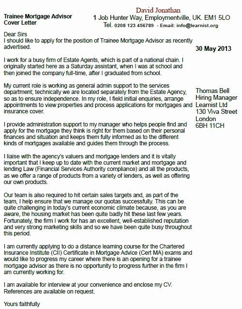 Financial Aid Advisor Resume Inspirational Trainee Mortgage Advisor Cover Letter Example Learnist Job Resume Samples Cover Letter Example Resume Guide