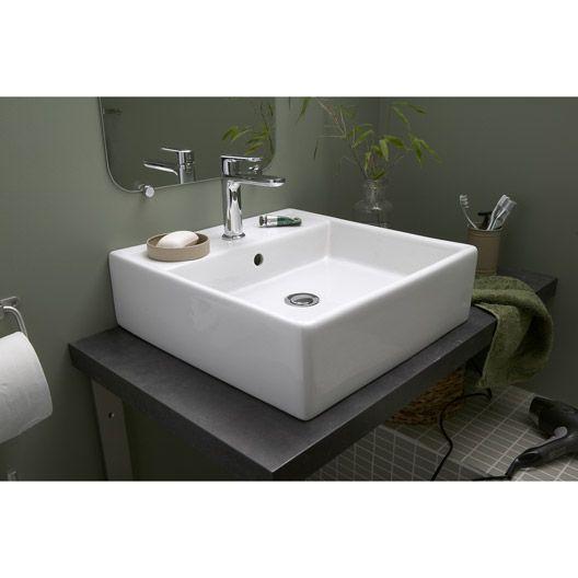 leroy merlin vasque 224 poser edge en c 233 ramique 46 x 46 cm deco salle de bain ps
