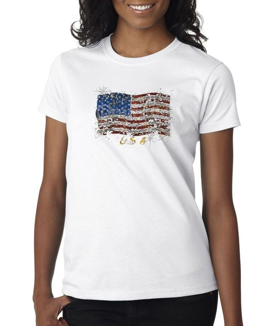 Usa Flag Splattered Yellow American Pride Support Our Troops Ladies T-Shirt