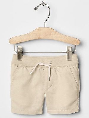GAP Baby Boy Size 0-3 Months NWT Beige / Tan Khaki Pull-On Linen Shorts