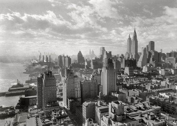 """New York. December 15, 1931. """"River House, 52nd Street and East River. Cloud study, noon, looking south from 27th floor."""" 5x7 safety negative by the prolific architectural photographer Samuel H. Gottscho."""