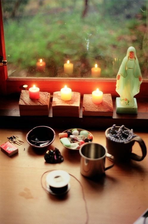 Altar to Mother and a link to The Charge of The Goddess <3 notice the bowl of healing stones <3