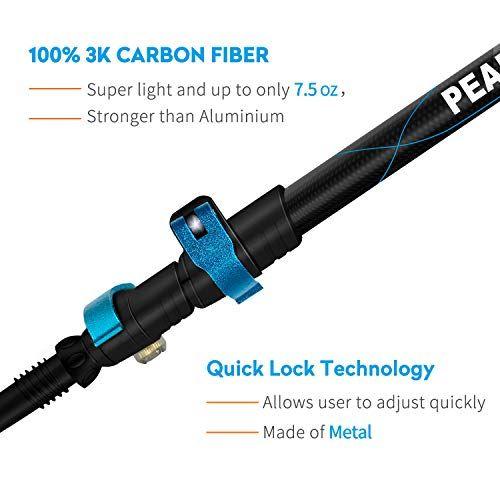 Hiking 3K Carbon Fiber Poles Camping Sticks with Metal Flip-Lock and EVA Foam Grips Ultra-Light 7.5 oz PEAK WALK Trekking Poles Collapsible Walking 1 Pair Black