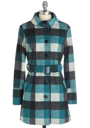 Nancy Drew Cosplay Coat Idea Frost on the Window Coat - Long, 3, Woven, Multi, Checkered / Gingham, Plaid, Buttons, Pockets, Belted, Long Sleeve