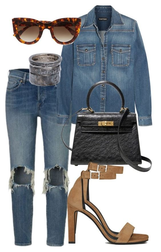 """Sem título #1513"" by marianagandrade ❤ liked on Polyvore featuring Tom Ford, Hermès, Yves Saint Laurent, Thierry Lasry and Lee Brennan Design"