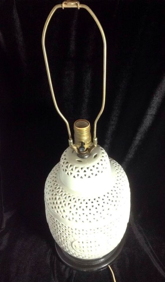 Vintage Hollywood Regency Style Blanc De Chine Reticulated