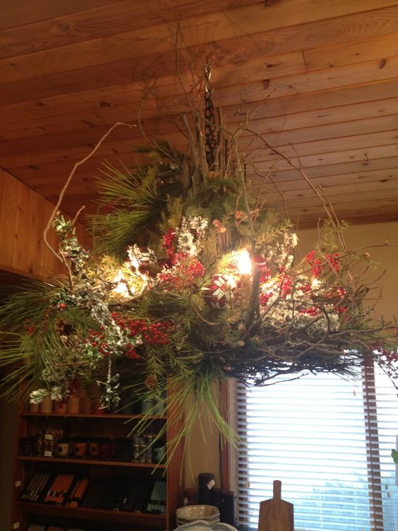Beautiful woodsy Christmas chandelier from Mulhall's