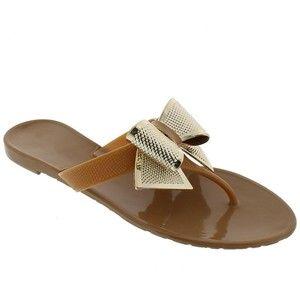 LILIANA Jelli Metallic Bow Thong Sandal