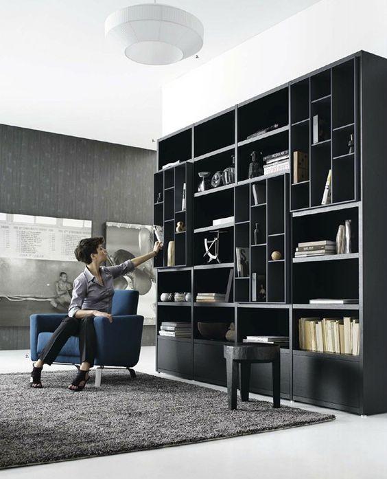 Moderno librero libreros pinterest lounge areas for Libreros modernos