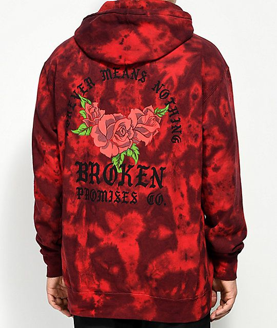 Mens Red Anchor Patch Pocket Print Full Zip Hoodie
