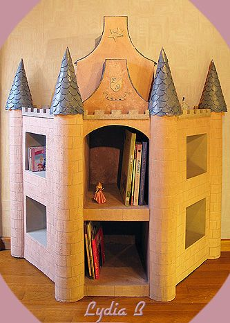 Bibliotheque enfant chateau en carton cardboard - Fabriquer bibliotheque enfant ...