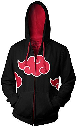 Naruto Shippuden Akatsuki Red Clouds Adult Black Zip Up Hoodie - I want it...