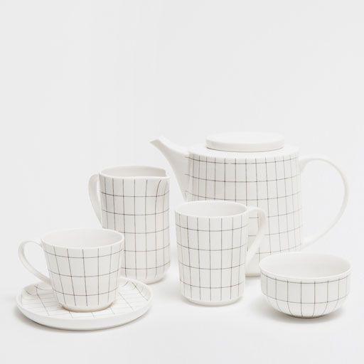 Conjunto porcelana estampado geométrico