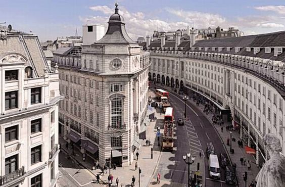 Regent Street, London is one of the West End's major shopping streets; named after the Prince Regent (later George IV) and commonly associated with architect John Nash, whose street layout from 1825 survives today. Regent Street runs from the Regent's residence at Calton House in St. James's, through Piccadilly Circus, crosses Oxford Street at the busy Oxford Circus, and terminates at All Souls Church.