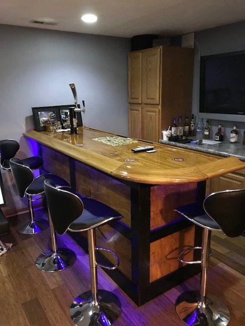 Today S Pick A Theater Room Home Bar Top Featuring Our Bar Top Kits Br550 Bar Rail Moldings Glass Ra Man Cave Home Bar Basement Bar Designs Home Bar Designs